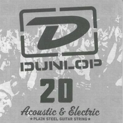2 X Jim Dunlop DPS020 Single Plain Steel .020 Electric or Acoustic Guitar String
