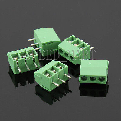 5 x 3 Pin 3.5mm 3 way straight pin PCB Universal Screw Terminal Block Connector