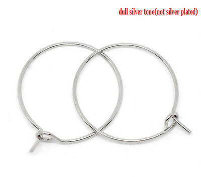 100 SILVER TONE 20mm WINE GLASS CHARM RINGS/EARRING WIRES~HOOPS~Wedding~(W6) UK
