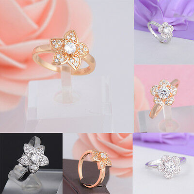 Womens Fashion Flower 18K White Gold Plated Zirconia Engagement Rings Wedding