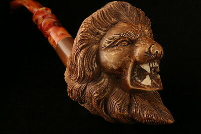 Deluxe Lion Hand Carved Block Meerschaum Pipe in a fitted case 6923