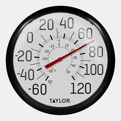 """New! #6700 TAYLOR Large 13.5"""" EASY TO READ In/Outdoor Black Dial Thermometer F/C"""