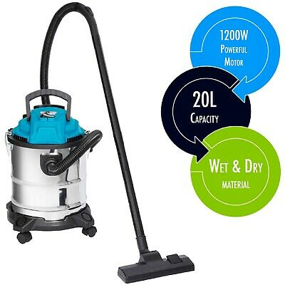 Wet And Dry Vacuum Cleaner Blower Stainless Steel Industrial Garage 1400w 20ltr