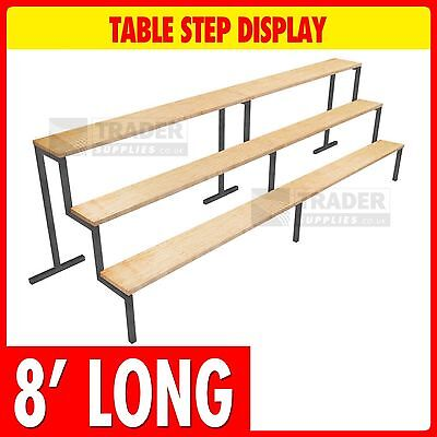 3 Step Display 8ft Long 6in x 6in Steps Table Mounted Market Stalls Shop