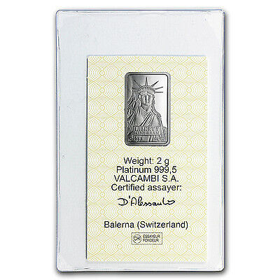 2 gram Platinum Bar - Credit Suisse (In Assay) - SKU #93020