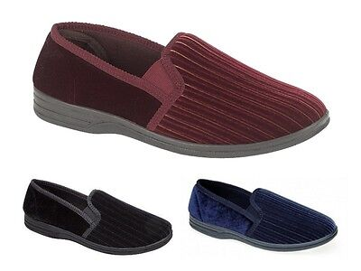 Mens Luxury Velour Slippers Wide Fit Soft Comfort Shoes Strong Sole Size UK 6-14