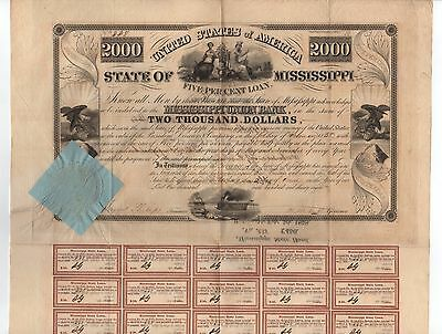 1838 State of Mississippi $2000 Bond w/paper attached seal
