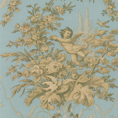 Floral and Cherub Gold & Blue Wallpaper CH28309  FREE SHIPPING