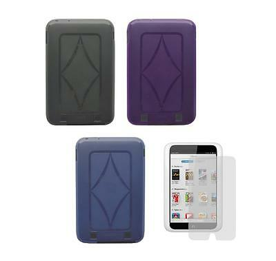 TPU Gel Skin Cover Case and Screen Protector for Barnes & Noble Nook HD 7 Tablet