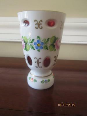 """Vintage Bohemian/ Czech Cased White Cut To Cranberry Red Glass 5 1/8""""  Vase"""