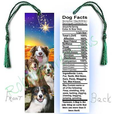 "AUSTRALIAN SHEPHERD Large 6"" BOOKMARK Tri Red Tan Merle DOG FACTS Art Book CARD"