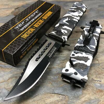 Tac Force Spring Assisted Open Black White Digital Camo Pocket Handy Knife