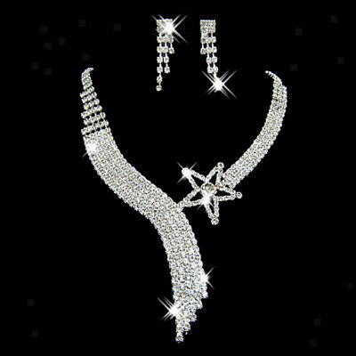 Bridal Wedding Party Prom Jewelry Crystal Star Rhinestone Necklace Earrings SET