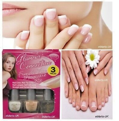 French Manicure Set in in White, Nude Nail Varnish & Clear Top Coat New Batch