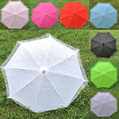 New Lace Flower Girls Kids Sun Parasol Wedding Bridal Party Umbrella Photo Decor