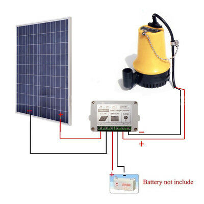 Solar Water Pump System Kit w/100W Solar Panel & 15A Controller for Watering