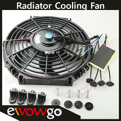 """Universal 10"""" Radiator Electric Cooling Fan Curved S-Blade Reversible Muscle Car"""