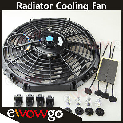 """Universal 12"""" Radiator Electric Cooling Fan Curved S-Blade Reversible Muscle Car"""