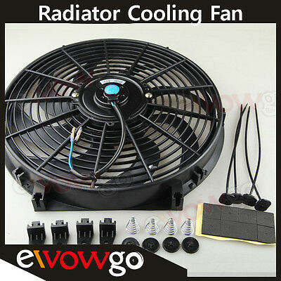 """Universal 14"""" Curved S-Blade Electric Radiator Cooling Fan with Mounting Kit"""