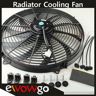 """Universal 16"""" Radiator Electric Cooling Fan Curved S-Blade Reversible Muscle Car"""