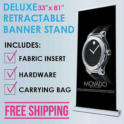 "33""x81"" Retractable Roll Up Banner Stand Trade Show Display + Free Fabric Print"