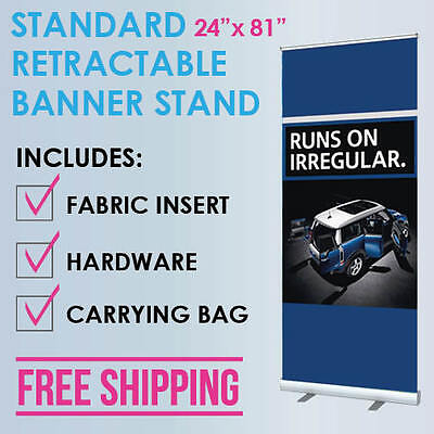 """24""""x81"""" Retractable Roll Up Banner Stand Trade Show Display + Free Fabric Print"""