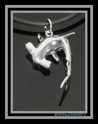 925 STERLING SILVER 3D HAMMERHEAD SHARK life like Sea animal Pendant Necklace