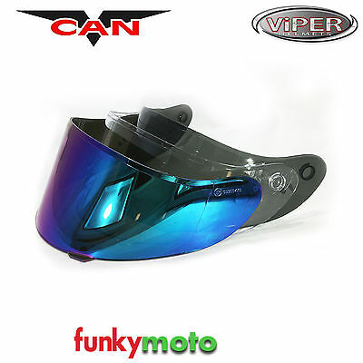 Visor For Vcan V127 Helmet Clear Smoked Race Iridium Viper 250 Track Antiscratch