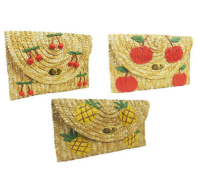 Retro Vintage style 1940's 1950's Hawaiian Tiki Tuti Fruiti Straw Clutch Bag