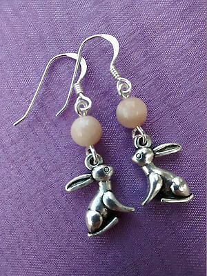 CUTE 3D MOON GAZING HARE NATURAL MOONSTONE Sterling Silver EARRINGS Pagan Wiccan
