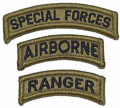 US Army Special Forces Airborne Ranger Patch Set of 3 Multicam/OCP/Scorpion