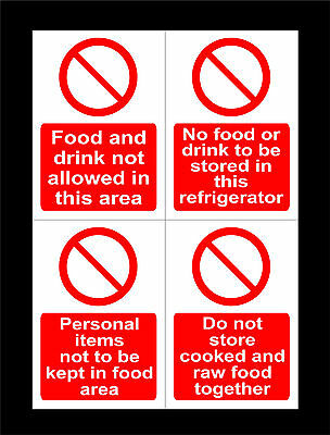 Personal Items, No Food Or Drink, Raw & Cooked Food Signs. All Sizes & Materials