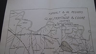 1902 ORIGINAL MAP   OIL REGIONS of CLAY MONTAGUE & COOKE COUNTIES TEXAS