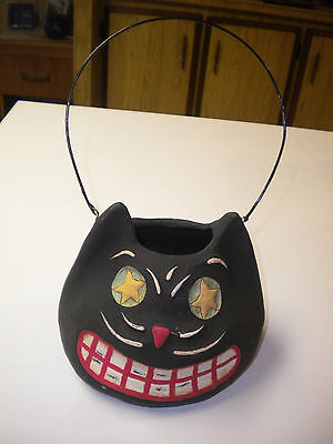 Smiley Black Cat Decorative Bucket / Pail / Lantern, Marked Bethany Lowe Designs