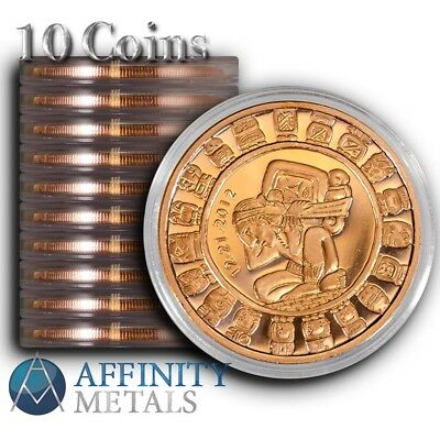 10 Coins-  Mayan Calendar 1 oz .999 Copper Bullion Rounds  In Caps!
