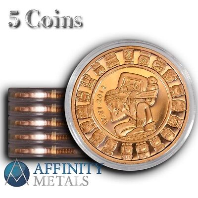5 Coins-  Mayan Calendar 1 oz .999 Copper Bullion Rounds  In Caps!