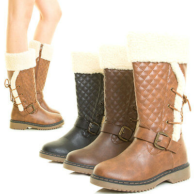 582764c76038 Womens Mid Calf Tall Knee High Winter Snow Boot Lace Up Buckle Shearling  Quilted