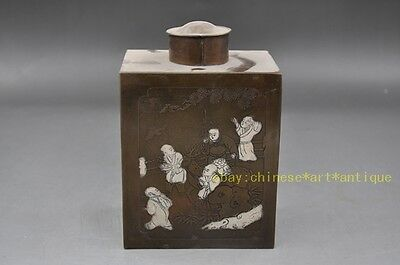 Antique Chinese Pewter Copper Tea Caddy Bottle Engraved m