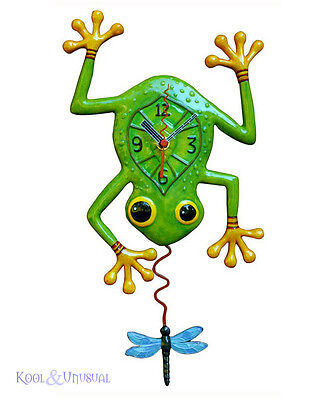 "Gorgeous ""Frog and Dragonfly"" Designer Wall Clock by Allen Designs"