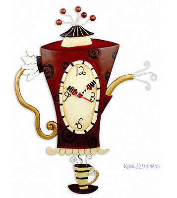 "Dramatic Large ""Steamin' Tea"" Teapot Cafe Wall Clock by Allen Designs"