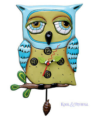 Gorgeous OLD BLUE OWL Designer Wall Clock by Allen Designs