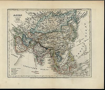Asia Japan Korea Arabia Tibet Borneo Java 1852 old detail engraved hand color ma