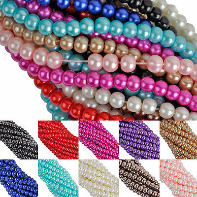 Wholesale Glass Pearl Spacer Loose Beads Charms Jewelry Findings 4 6 8 mm