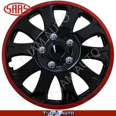 "Quality 15"" Inch Set of 4 Wheel Covers Stealth Red Strip NEW"