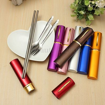 Mini Stainless Tableware Set Travel Outdoor Collapsible Chopsticks Fork Spoon