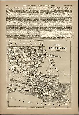 Louisiana Map New Orleans Mississippi River 1868 great old print for display