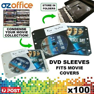 PREMIUM 100 x DVD Sleeves Fits Movie Cover DVD Plastic Sleeve Binder Black White