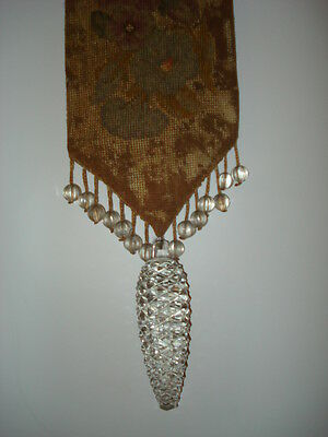 Antique Victorian Bell Pull Petit Point Needlepoint Cut Crystal Pine Cone
