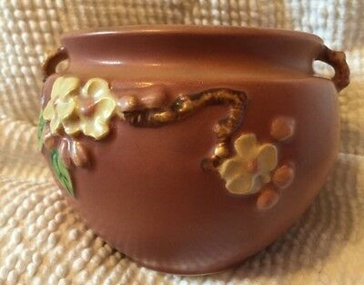 Roseville USA 300-4 Antique Apple Blossom Bowl with Branch Handles