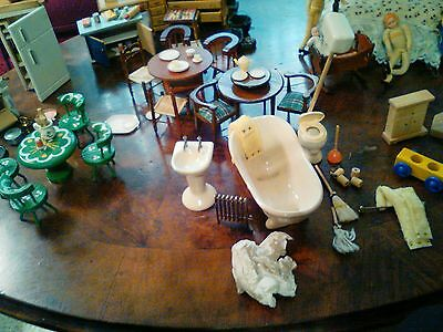 Full miniature wooden dollhouse collection